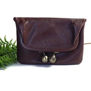 Trina Turk Brown Leather Flap Clutch